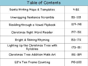 Santa's Workshop L.A. & Math Activities