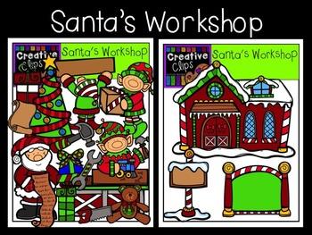 Santa's Workshop Christmas Clipart {Creative Clips Clipart}