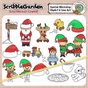 Santa's Workshop Holiday ClipArt