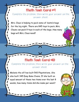 Santa's Workshop Multiplication and Division Task Cards 3rd-5th grade
