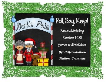 "Santa's Workshop ""Roll, Say, Keep!""  Numerals 1-120"