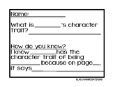 Text Evidence for Character Traits