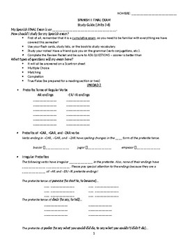 Santillana Español FINAL Exam Study Guide Spanish 2