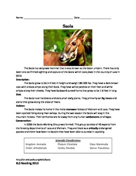Saola - endangered animal review article informaiton questions vocabulary