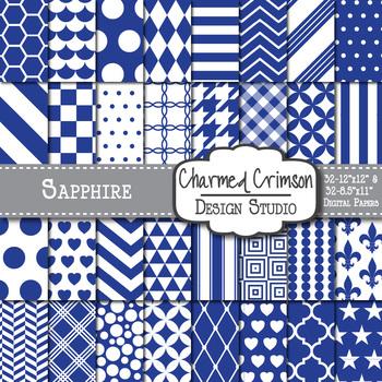 Sapphire Blue Geometric Basic Digital Paper 1171