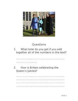Sapphire Jubilee Queen Elizabeth II reading comprehension formal letter writing