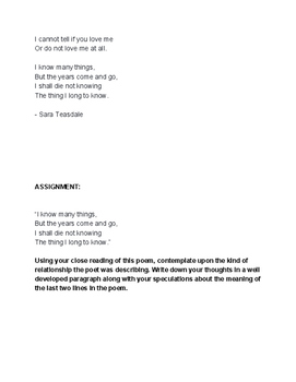 Sara Teasdale Poem - close reading, worksheet & assignment - I know many things