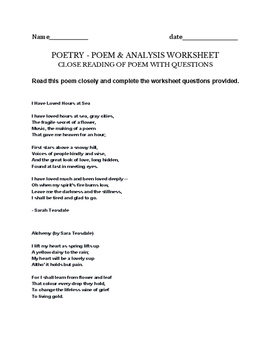Sara Teasdale Poetry writing worksheet - alchemy & hours at Sea -poems incl