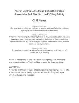 """Sarah Cynthia Sylvia Stout"" Accountable Talk and Writing Activity"