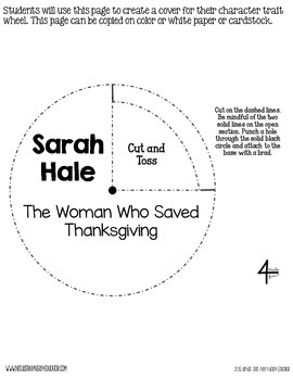 Sarah Hale: The Woman Who Saved Thanksgiving Character Trait Wheel