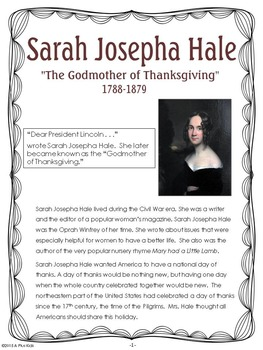 """A Thanksgiving Story: Sarah Joseph Hale """"The Godmother of Thanksgiving"""""""