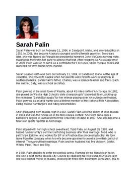 Sarah Palin Article Biography and Assignment