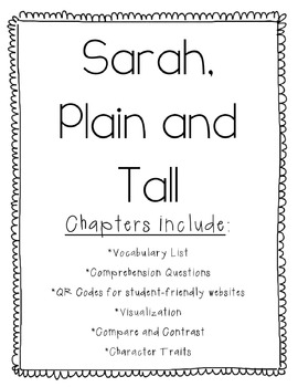 Sarah, Plain and Tall Book Unit-Vocabulary and Questions f