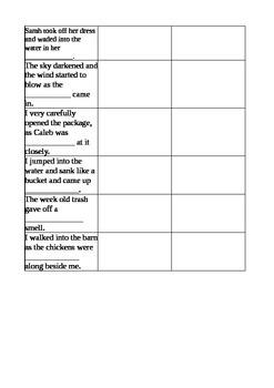 Sarah, Plain & Tall Voc 6-9 Worksheet