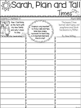 Sarah, Plain and Tall - Novel Study - Creative Writing - 3rd and 4th Grade