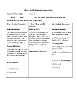 Sarah, Plain and Tall - 4 days of guided reading lesson plans