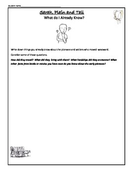 Sarah, Plain and Tall 54 Common Core Aligned Printables and Worksheets