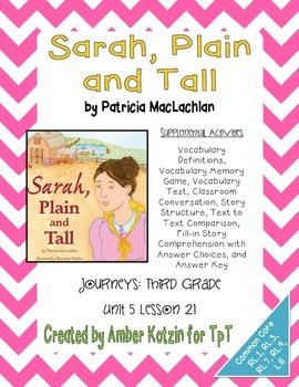 Sarah, Plain and Tall Activities 3rd Grade Journeys Unit 5