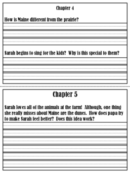 Sarah, Plain and Tall Chapter Response Booklet