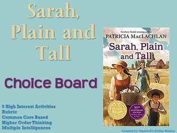 Sarah Plain and Tall Choice Board Novel Study Activities Book Project Menu