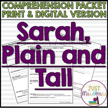 Sarah Plain And Tall Comprehension Packet By Deana Jones Tpt