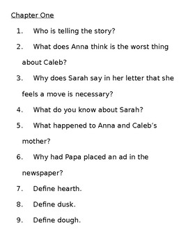 Sarah Plain and Tall Comprehension Questions