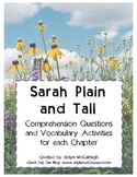 Sarah, Plain and Tall- Comprehension Questions & Vocabulary Activities