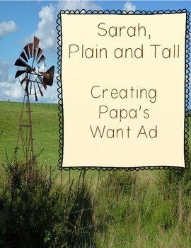 Sarah, Plain and Tall - Creating Papa's Want Ad