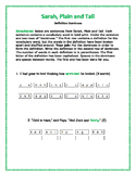 Sarah, Plain and Tall: Definition Dominoes—Unique Vocabulary Activity!