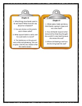 SARAH, PLAIN AND TALL - Discussion Cards