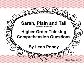 Sarah, Plain and Tall Higher Order Thinking Comprehension