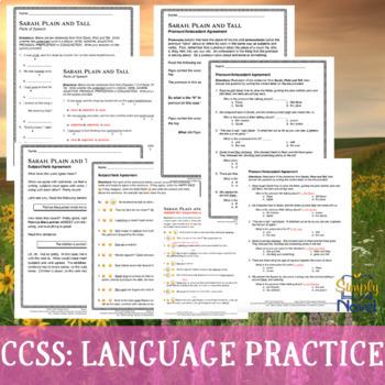 Sarah, Plain and Tall Language Practice Worksheets - Grammar, Parts of Speech
