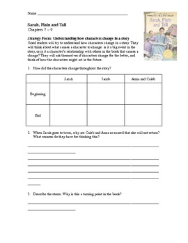 sarah plain and tall lesson plans and comprehension activities tpt. Black Bedroom Furniture Sets. Home Design Ideas