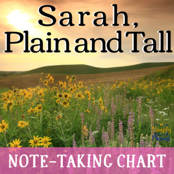 Sarah, Plain and Tall Note-Taking Active Reading Graphic Organizer & Summary