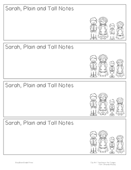 Sarah, Plain and Tall Notetaking Bookmark