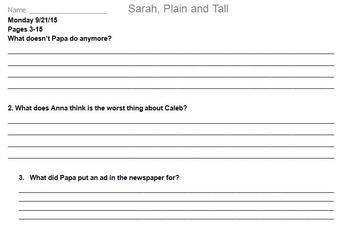 Sarah, Plain and Tall Novel Assignment