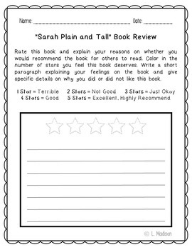 Sarah Plain and Tall Novel Unit Study Activities, Book Companion Worksheets