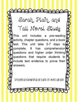 Sarah Plain and Tall Novel Study Book Unit