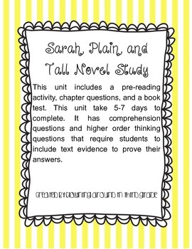 Sarah Plain and Tall Novel Study Book Unit