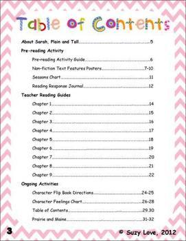 Sarah, Plain and Tall Novel Study Common Core Unit