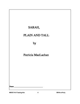 Sarah Plain and Tall Novel Study Guide