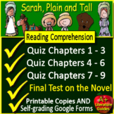 Sarah Plain and Tall Quiz and Test Bundle Common Core Aligned