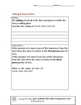 Sarah, Plain and Tall Literature and Grammar Unit