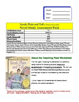Sarah, Plain and Tall Novel study Assessment Pack