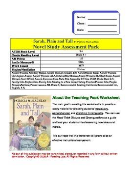 Sarah, Plain and Tall Novel study Assessment Pack