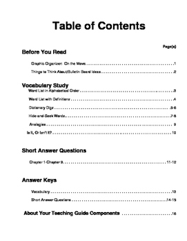 Sarah, Plain and Tall Prereading, Vocabulay Study, Short Answer Questions
