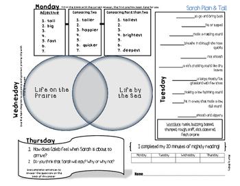 Sarah, Plain and Tall Print and GO Homework Sheet, 3rd Grade Journeys