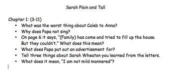 Sarah Plain and Tall Questions