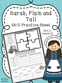 Sarah, Plain and Tall (Skill Practice Sheet-- Journeys)