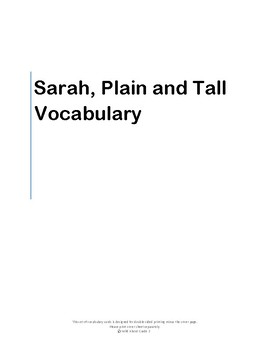 Sarah Plain and Tall Target Vocabulary